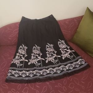 Nygard Black with Pink Embroidered Floral Skirt